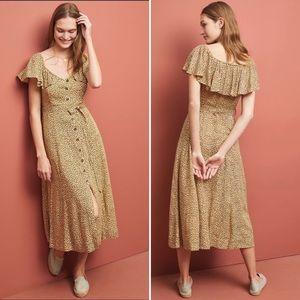 Anthropologie Bolano Leopard Tie Waist Midi Dress